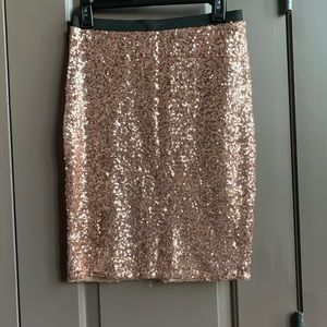 NWT The Limited Rose Gold Sequin Pencil Skirt S